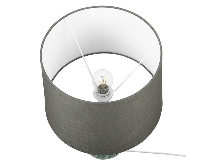 Lampa stołowa ciemnozielona ceramiczna 57 cm rzeźbiona podstawa okrągły abażur nowoczesna Lampa z abażurem Lampa nocna Kolor Zielony