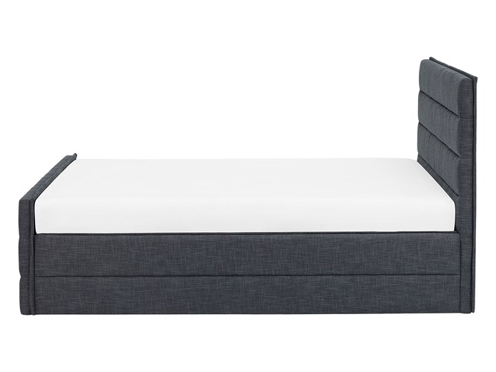 Łóżko ciemnoszare tapicerowane 180 x 200 cm ze stelażem wezgłowiem i zanóżkiem Kolor Czarny Łóżko tapicerowane Kategoria Łóżka do sypialni