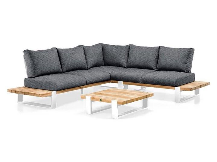 Zestaw wypoczynkowy na taras NARDO I biały Drewno Kategoria Zestawy mebli ogrodowych Zestawy wypoczynkowe Aluminium Kolor Czarny