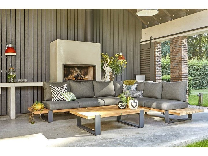 Zestaw wypoczynkowy do ogrodu NARDO II antracyt Drewno Zestawy wypoczynkowe Aluminium Kategoria Zestawy mebli ogrodowych Kolor Czarny