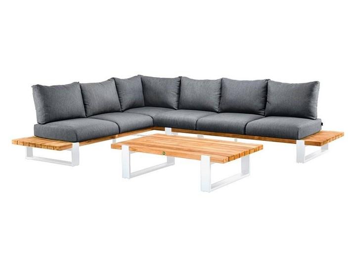 Zestaw wypoczynkowy do ogrodu NARDO II biały Aluminium Kategoria Zestawy mebli ogrodowych Drewno Zestawy wypoczynkowe Kolor Czarny