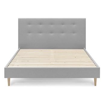 Jasnoszare łóżko dwuosobowe Bobochic Paris Rory Light, 160x200 cm
