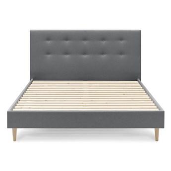 Ciemnoszare łóżko dwuosobowe Bobochic Paris Rory Light, 160x200 cm