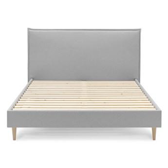 Szare łóżko dwuosobowe Bobochic Paris Sary Light, 180x200 cm