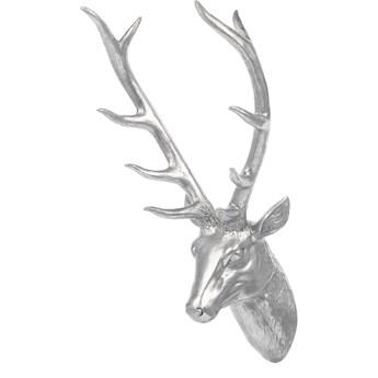 Dekoracja na ścianę srebrna wisząca głowa jelenia poroże 67 cm