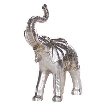 Figurka dekoracyjna słoń srebrna żywica syntetyczna 40 x 19 cm glamour