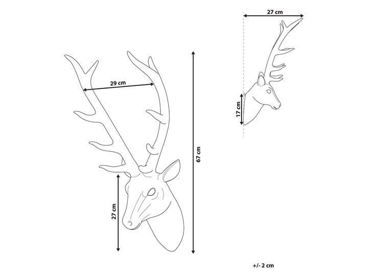 Dekoracja na ścianę złota wisząca głowa jelenia poroże 67 cm Zwierzęta Tworzywo sztuczne Kolor Złoty