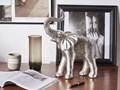 Figurka dekoracyjna słoń srebrna żywica syntetyczna 40 x 19 cm glamour Zwierzęta Kolor Srebrny