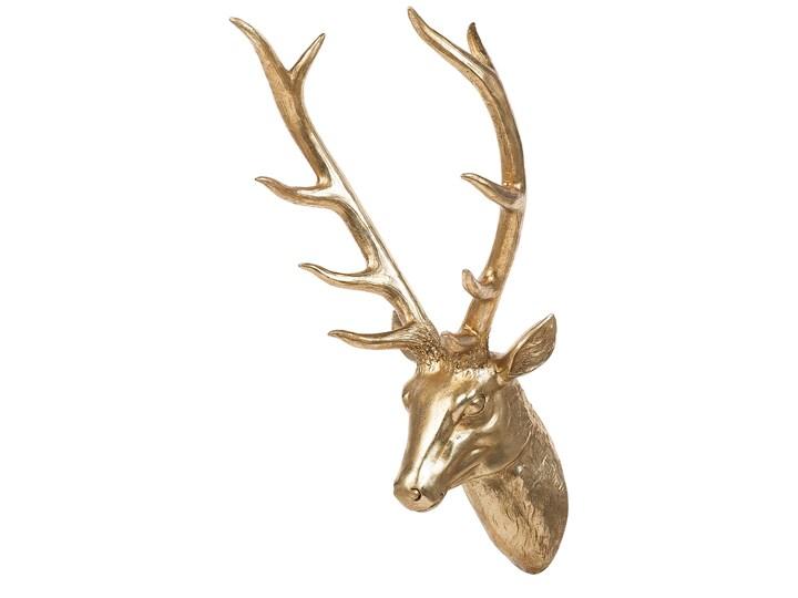 Dekoracja na ścianę złota wisząca głowa jelenia poroże 67 cm