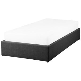 Łóżko z pojemnikiem szare tapicerowane 90 x 200 cm jednoosobowe z podnoszonym stelażem bez zagłówka