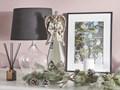 Figurka dekoracyjna srebrno-złoty anioł lustrzana dekoracja 41 cm Szkło Anioły Kolor Srebrny