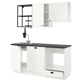 IKEA ENHET Kuchnia, antracyt/biały rama, 183x63.5x222 cm