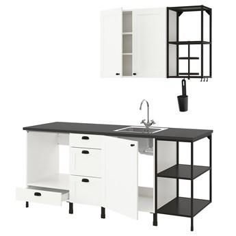 IKEA ENHET Kuchnia, antracyt/biały rama, 203x63.5x222 cm