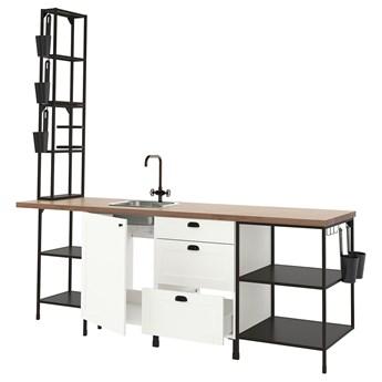 IKEA ENHET Kuchnia, antracyt/biały rama, 243x63.5x241 cm