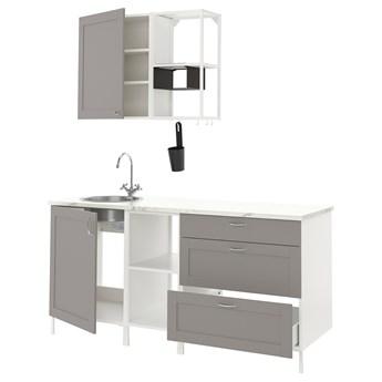 IKEA ENHET Kuchnia, biały/szary rama, 183x63.5x222 cm