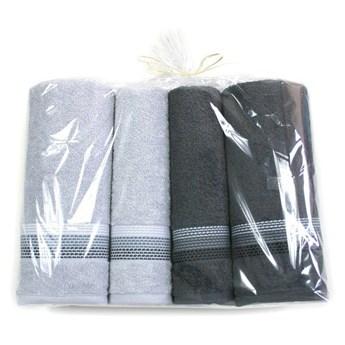 Komplet 4 ręczników na prezent Ombre Fuksja jasny popielaty