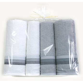Komplet 4 ręczników na prezent Ombre Biały