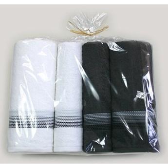 Komplet 4 ręczników na prezent Ombre Biały popielaty