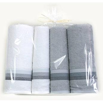 Komplet 4 ręczników na prezent Ombre Biały jasny popielaty
