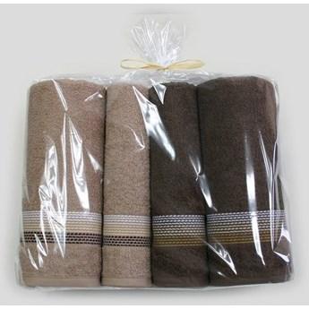 Komplet 4 ręczników na prezent Ombre Beżowy brązowy