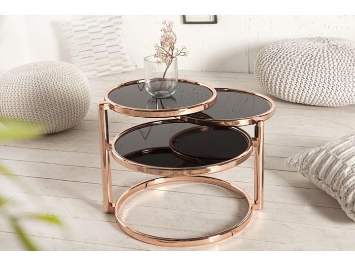 ProduktINVICTA stolik rozkładany DECO miedziany Kolor Złoty Wysokość 43 cm Szkło Metal Rodzaj nóg Gięte