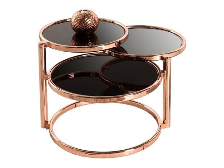 ProduktINVICTA stolik rozkładany DECO miedziany Metal Szkło Wysokość 43 cm Kolor Czarny
