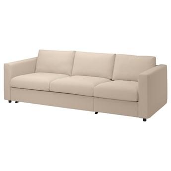 IKEA VIMLE Rozkładana sofa 3-osobowa, Hallarp beżowy, Wysokość łóżka: 53 cm
