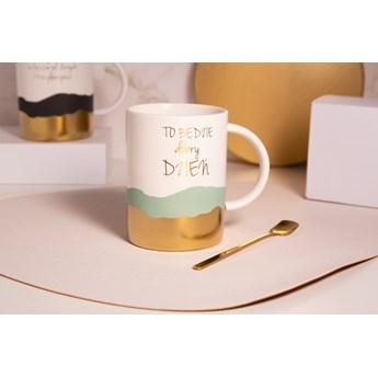 Kubek porcelanowy na prezent / do kawy i herbaty z łyżeczką Altom Design Sentencje Gold / Green 350 ml (opakowanie prezentowe)
