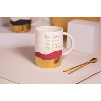 Kubek porcelanowy na prezent / do kawy i herbaty z łyżeczką Altom Design Sentencje Gold / Pink 350 ml (opakowanie prezentowe)