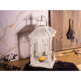 Latarenka / latarnia / lampion ozdobny wiszący metalowy Altom Design biała 38 cm