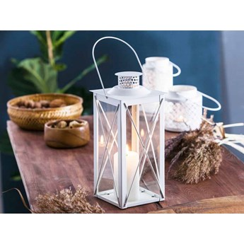 Latarenka / latarnia/ lampion ozdobny wiszący metalowy Altom Design kwadratowa biała 31 cm