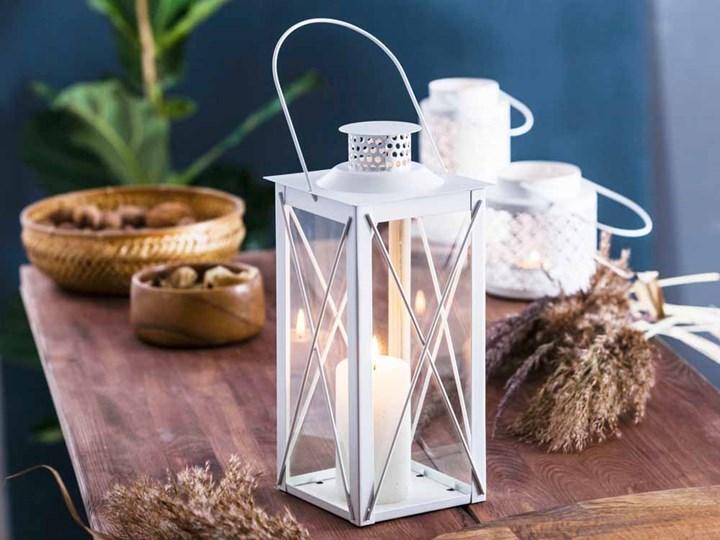 Latarenka / latarnia/ lampion ozdobny wiszący metalowy Altom Design kwadratowa biała 31 cm Kolor Biały Kategoria Świeczniki i świece
