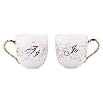 Zestaw 2 porcelanowych kubków ze złotym uchem Altom Design Walentynki 350 ml, dekoracja Ty i Ja (opakowanie prezentowe)