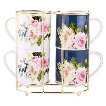 Zestaw 4 porcelanowych kubków do kawy i herbaty Altom Design Amelia na złotym stojaku 250 ml, opakowanie prezentowe