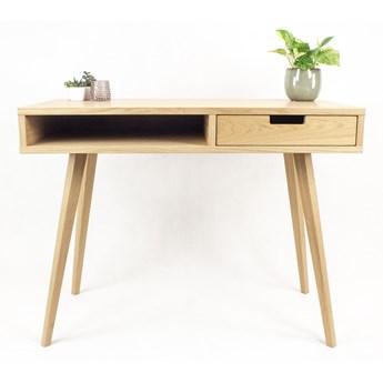 Designerskie Biurko Lea 110 cm z półką i szufladą z dębowym frontem - styl skandynawski, dębowe, drewniane