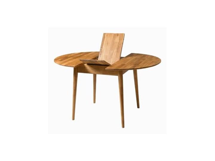Stół drewniany, dębowy okrągły rozkładany FABIO Drewno Szerokość 93 cm Długość 93 cm Długość 110 cm  Wysokość 75 cm Szerokość 100 cm Szerokość 110 cm Długość 100 cm Rozkładanie Rozkładane