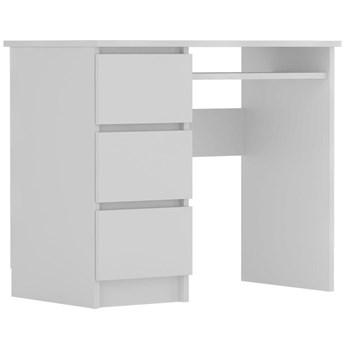 Meblobranie Białe biurko komputerowe Cina nowoczesne z szufladami 90x50x77