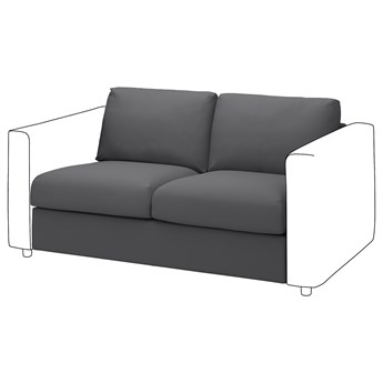 IKEA VIMLE Sekcja 2-osobowa, Hallarp szary, Głębokość: 98 cm