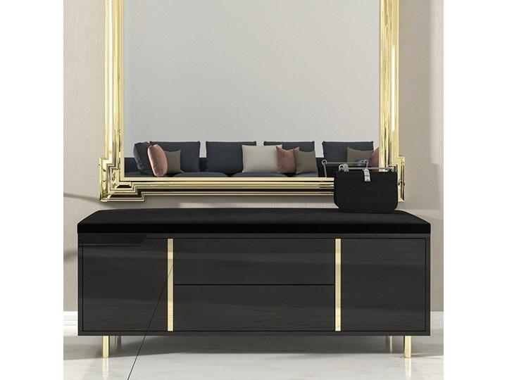 Elegancka czarna szafka na buty Dancan CAROLINE z tapicerowanym siedziskiem, na złotych nóżkach