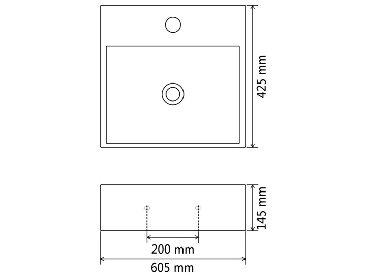 vidaXL Umywalka z ceramiki z otworem na kran 60,5x42,5x14,5 cm, czarna Ceramika Szerokość 61 cm Szkło Kolor Czarny