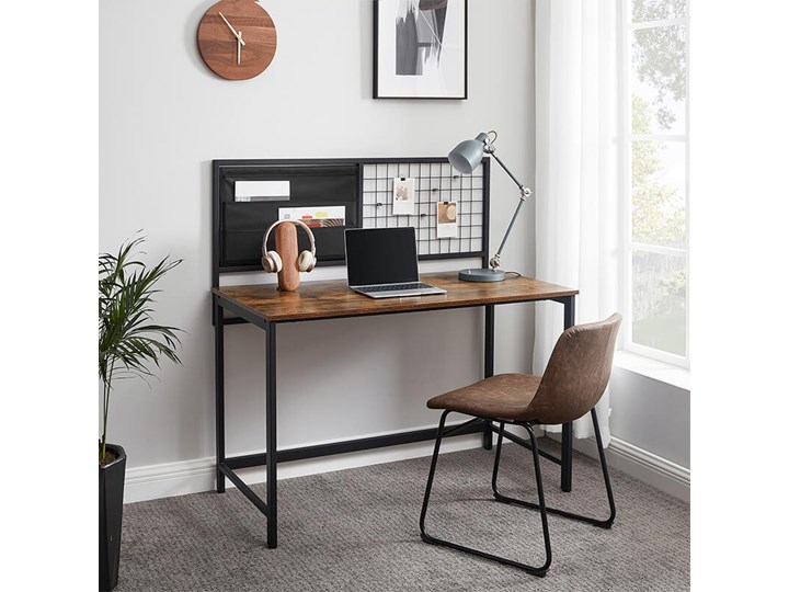 Bettso Industrialne biurko z przybornikiem / Rustic brown Głębokość 60 cm Metal Drewno Kolor Brązowy