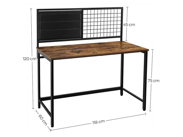 Bettso Industrialne biurko z przybornikiem / Rustic brown Drewno Głębokość 60 cm Metal Styl Industrialny Styl Nowoczesny