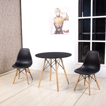 Zestaw stół okrągły czarny Milano Paris 60cm + krzesła Enzo