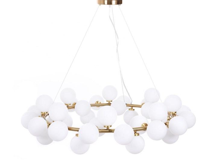 NOWOCZESNA LAMPA WISZĄCA MOSIĘŻNA MARSIADA W40 Szkło Mosiądz Lampa z abażurem Lampa z kloszem Kolor Biały Lampa LED Metal Ilość źródeł światła 40 źródeł
