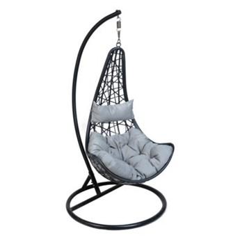 Fotel wiszący ogrodowy kokon cocoon DUKA IHALIG MOON 195 cm czarny szary