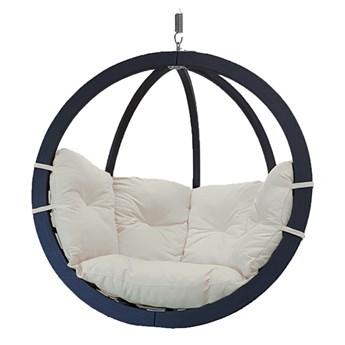 Fotel hamakowy drewniany, Swing Chair Single antracyt krem