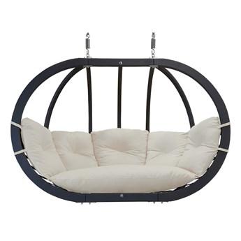 Fotel hamakowy drewniany podwójny, Swing Chair Double antracyt krem