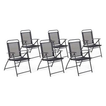 Beliani Zestaw 6 Krzeseł Ogrodowych Czarny Livo