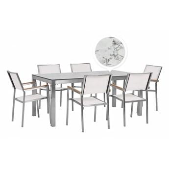 Beliani Zestaw Ogrodowy Stół Hpl Z Marmurowym Wykończeniem I 6 Krzeseł Białych