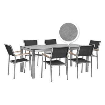 Beliani Zestaw Ogrodowy Stół Hpl Z Betonowym Wykończeniem I 6 Krzeseł Czarnych